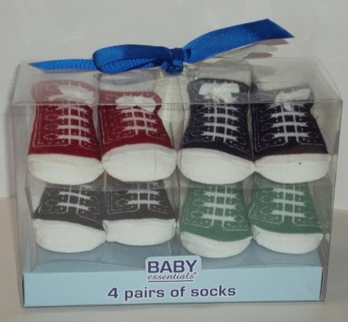 4 Pack Baby Tennis Shoe Sock Set/Baby Shower Gift/Newborn Gift/Christening/Baptism Gift
