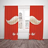 Polyester Window Drapes Kitchen Curtains,Christmas,Hairy Vivid Mustache of Santa Claus with Ho Ho Ho Lettering Happy New Year Decorative,Scarlet Cream,Living Room Bedroom Kitchen Cafe Window Drapes 2 For Sale