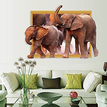 Elephant In Room That Needs To Be >> Homefind 34 W X 25 H 3d Great Herds Of African Elephants Walking