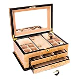 Time Factory AJ-BB670BRL ''Birdseye '' Lacquered Wood 3 Level Jewelry Box with Gold Accents and Locking Lid, Maple