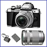 Olympus OM-D E-M10 Mark II Mirrorless Micro Four Thirds Digital Camera with 14-42mm II R Lens [Silver] & Olympus M.Zuiko Digital ED 40-150mm f/4.0-5.6 R Lens [Silver]