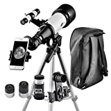 Telescope 70mm Apeture 400mm AZ Telescope - Travel Scope for Kids - Good Partner to View Moon and Planet With Tripod and 10mm Eyepiece Smartphone Adapter