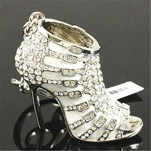 JewelBeauty Cute Lovely High Heeled Shoes Heels Rhinestone Crystal Keychain Charm Pendent Beautiful Accessories Best Gift for Girl Women Purse Charm Handbag Phone Bag Keyrings - Keychain Shoe High Heel