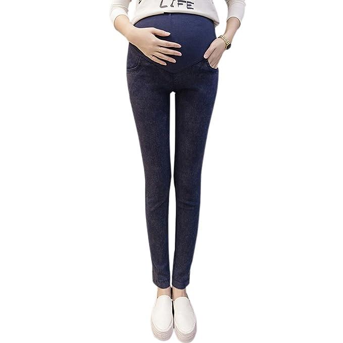 BOZEVON Polainas Flacas Otoño Moda Mujeres Embarazadas Completa Apoyo Abdomen Cintura Alta Polainas Flacas (Azul