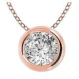 10k Gold Bezel-set Round Natural Diamond Solitaire Pendant (1/3 cttw, IJ / I2-I3) (rose-gold)