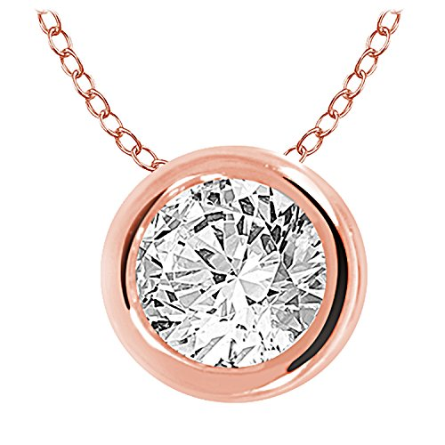 EternalDia 0.33Ct Round Diamond Ladies Bezel Set Solitaire Pendant with Chain in 10kt Rose Gold