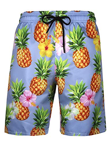 APTRO Men's Quick Dry Swim Trunks with Pockets Long Elastic Waistband Beach Board Shorts Bathing Suits (S, Pineapple with Mesh)