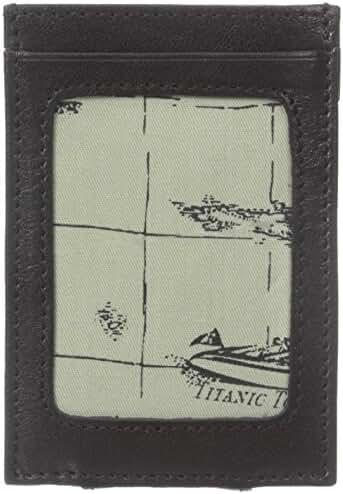 Tommy Bahama Men's Milled Leather and Basket Weave Money Clip Card Holder