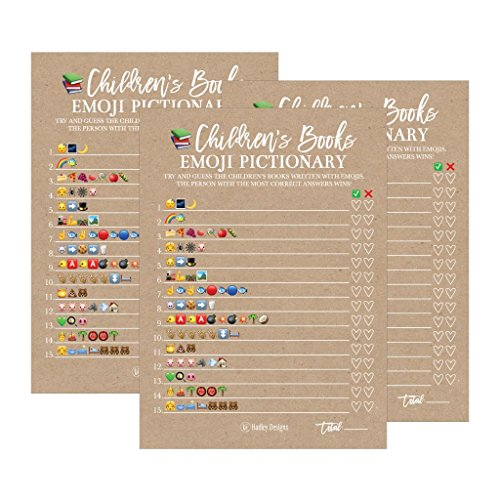 25 Rustic Emoji Children's Books Pictionary Baby Shower Game Party Ideas For Quiz Boy, Girl, Kids, Men, Women and Couples, Cute Classic Bundle Pack Set, Kraft Gender Neutral Unisex Fun Coed Cards for $<!--$14.99-->
