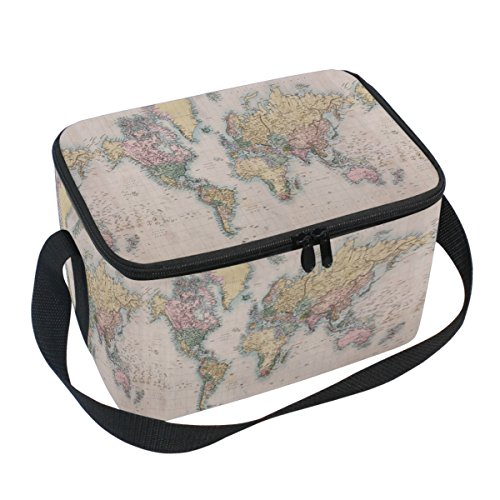 Naanle Vintage Retro World Map Canvas Zipper Insulated Lunch