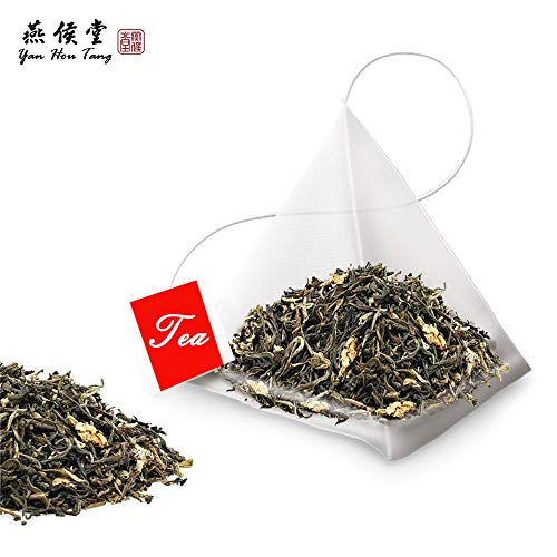 Yan Hou Tang - 50 Teabags Organic Taiwanese Jasmine Green Tea Flavor Taste Sugar Free Loose Leaf for Detox Weight Loss Relaxation and Stress Reduction Relief SGS FDA Verified