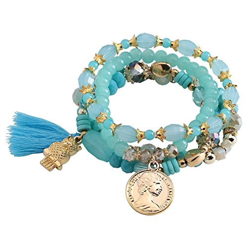 Bishilin 4 Pieces Women's Stretch Bracelets Set Blue Acrylic Glass Beads with Owl Coin Pendant