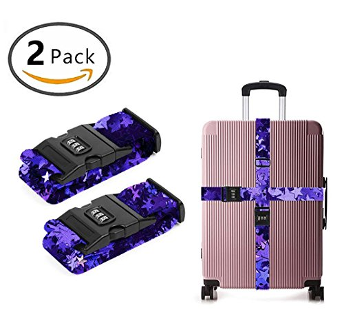 - YEAHSPACE Luggage Strap For Suitcases purple foil stars Travel Belts Heavy Duty TSA Approved Compliant 2-PC Set