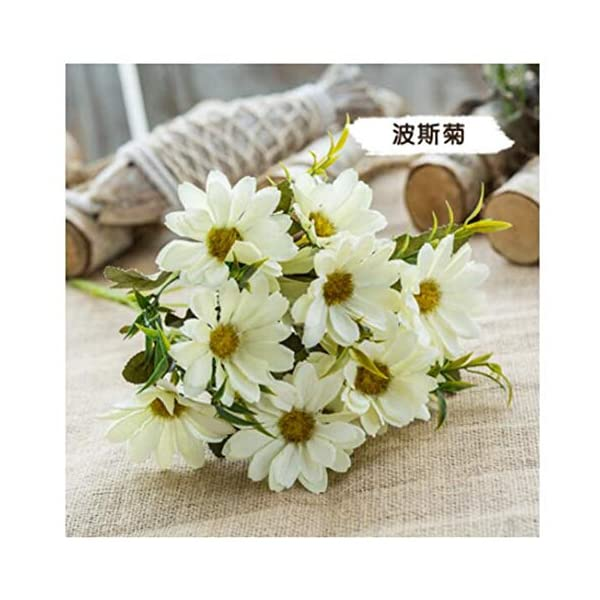 JIAHUAHUHH Single Bundle of European Artificial Flowers, Fake Flowers, Single Decorative Silk Flowers,Cosmos White,30cm