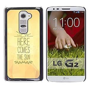 Here Comes The Sun Letras Amarillo texto - Metal de aluminio y de plástico duro Caja del teléfono - Negro - LG G2