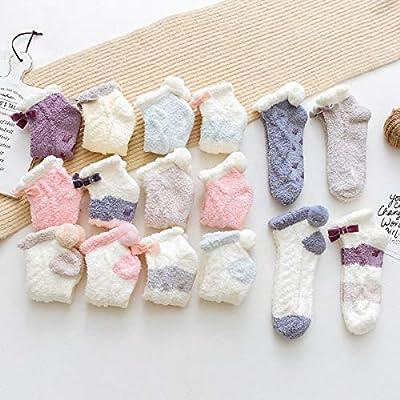 Skola Super Soft Cozy Winter Warm Slipper Socks Womens Anti Slip Grip Fuzzy Pom Pom Socks 4 Pairs(Blue series) at Women's Clothing store
