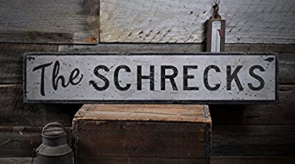 The SCHRECKS   Custom SCHRECK Last Name Distressed Wooden Sign   9.25 X 48  Inches