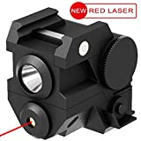 Aurora Tactical Pistol Red Laser with High Lumen CREE LED Flashlight, Flashlight Strobe, Flashlight + Red Laser, 4-in-1, Mini Sights Accessories for Handgun/Rifle/Hunting Weapons, 20mm Rails Mount