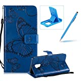 Strap Leather Case for Samsung Galaxy A6 2018,Wallet Leather Case for Samsung Galaxy A6 2018,Herzzer Premium Stylish Pretty 3D Blue Butterfly Printed Bookstyle Magnetic Full Body Soft Rubber Flip Portable Carrying Stand Case with Card Holder Slots
