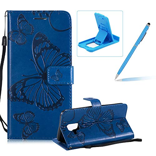 - Herzzer Strap Leather Case Galaxy A6 2018,Wallet Leather Case Galaxy A6 2018, Premium Stylish Pretty 3D Blue Butterfly Printed Bookstyle Magnetic Soft Rubber Flip Stand Case