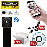MINICUTE Mini Hidden spy camera HD 1080P P2P Wireless WiFi IP Digital Video recorder for IOS Android Phone APP Motion Detecting Free Charger and Disc and Updated Instruction Included.
