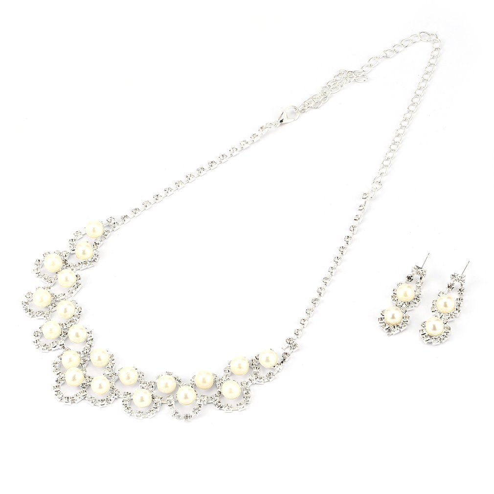 YaptheS Luxury Imitation Pearl Bridal Jewelry Sets Party Wedding Earrings Necklace Set Jewelry Adjustable