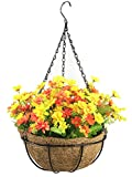 Lopkey Artificial Daisy Flowers Outdoor Indoor Patio Lawn Garden Hanging Basket with Chain Flowerpot,Sunset Color 10 Inch