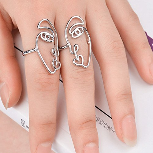 2pcs/Set 2017 New Ethnic Metal Hollow Human Face Rings for Women Fashion Alloy Knuckle Rings for Fingers Jewelry Gift XR925 by Autumn Water