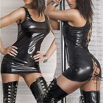 Gracefulvara Women's Sexy Lingerie Underwear Black PU Leather Dress