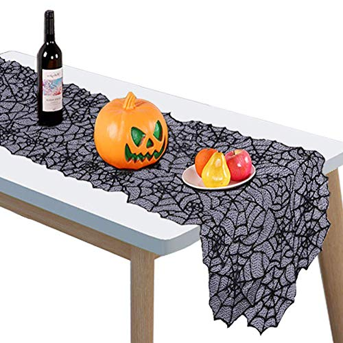 Halloween Decoration Spider Web Table Runner Fireplace Mantle Scarf Cover for Halloween Party, Mysterious Festive Party Supplies, Black Lace, 20 x 80 Inch