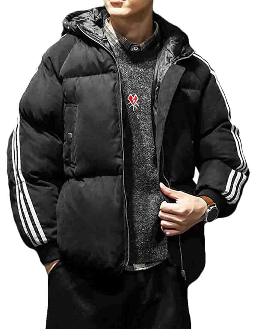Hurrg Mens Winter Hooded Striped Quilted Coat Padded Warm Thicken Down Jacket