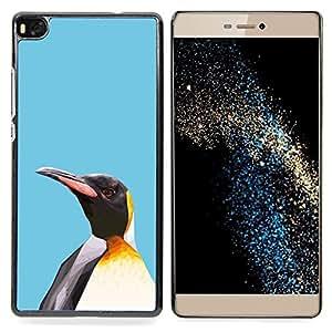 """Qstar Arte & diseño plástico duro Fundas Cover Cubre Hard Case Cover para Huawei Ascend P8 (Not for P8 Lite) (Polígono colorido lindo pingüino"""")"""