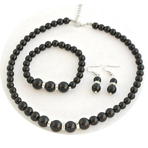 Bodai Faux Pearl Crystal Choker Necklace Earring Bracelet Jewelry Set ()