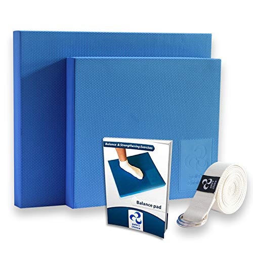 XL Foam Balance Pad - FREE Stretching Strap & BONUS eBook | Extra Large Balance Pads for Physical Therapy Rehab & Ankle Recovery, Lower Back/Knee Pain | X Large Wobble Board Cushion for Strength