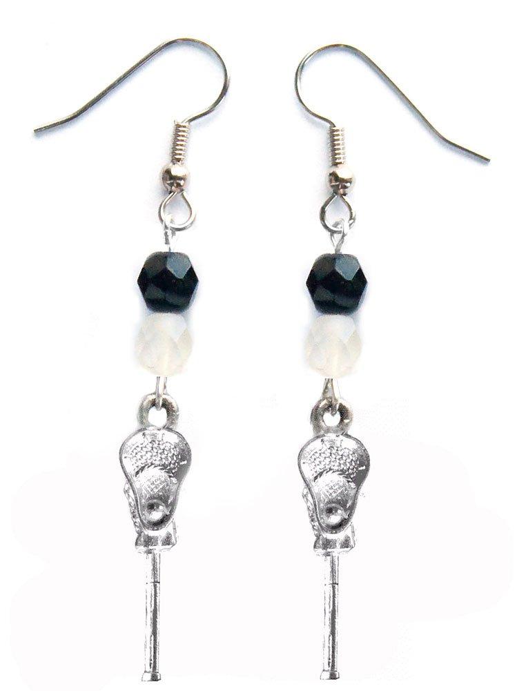 ''Lacrosse Stick & Ball'' Lacrosse Earrings (Team Colors Black & White)