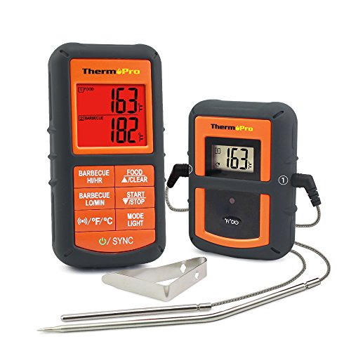 ThermoPro TP-08 Wireless Remote Digital Cooking Meat Thermometer Dual Probe for Grilling Smoker BBQ Food Thermometer - Monitors Food from 300 Feet Away (Grilling Barbecue)