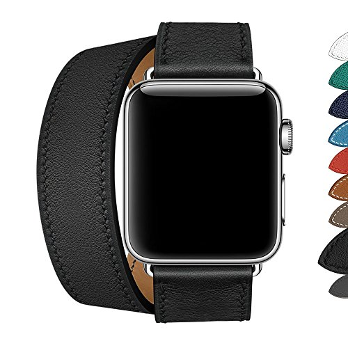 - WAfeel Compatible for IWatch Series 3 Band,9 Colors Double Wrap Genuine Leather Smart Watch Band 38mm 42mm Replacement Strap with Metal Clasp for IWatch Series 2/1 (Double Tour Black, 42mm)