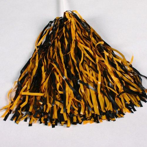 Black & Bright Gold Spirit Pom Poms (Black & Bright Gold, 1 (Black And Gold Pom Poms)