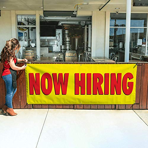 NOW HIRING Banner 3ftX8ft Yellow