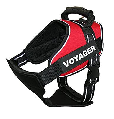 Voyager No-Pull Harness for Large Breeds with Handle by Best Pet Supplies - Removable Vest Patches- 3M Reflective Piping- Heavy Duty Padded Harnesses for Police/ Guide/ Assistance/ Service/ Big Dogs