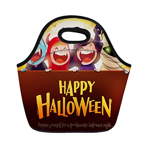 (Semtomn Neoprene Lunch Tote Bag Happy Halloween Party Group of Kids in Costumes Big Reusable Cooler Bags Insulated Thermal Picnic Handbag for)