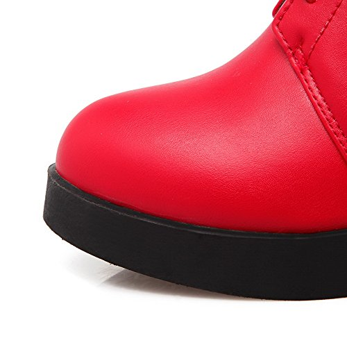 Solid suave Tacones Material top Red para Zipper mujer Low Boots Allhqfashion altos T8ZcBOWaB