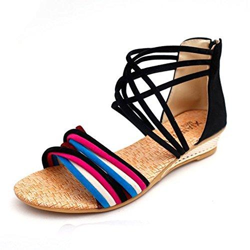 PET WITH ME Fashion Women's PU Wedge Peep Toe Slip-On Sandals Black7 B£¨M£ US Hot Sell.