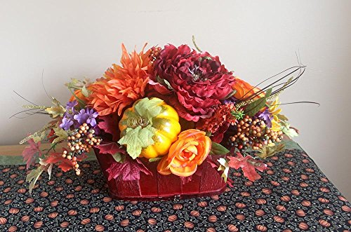 Fall oblong centerpiece, Thanksgiving table arrangement, silk flower arrangement, fall décor, fall flowers, silk flower centerpiece, gift (Fall Flower Centerpiece)
