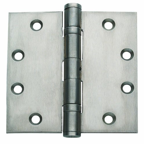 Global Door Controls 4.5 in. x 4.5 in. Satin Stainless Steel Ball Bearing Hinge with Non-Removable Pin - Set of 3
