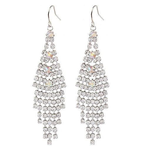 New Xiloo Rhodium Tone Wedding Bridal Chandelier Crystal AB Rhinestone Fringe Fish Hook Dangle Earrings