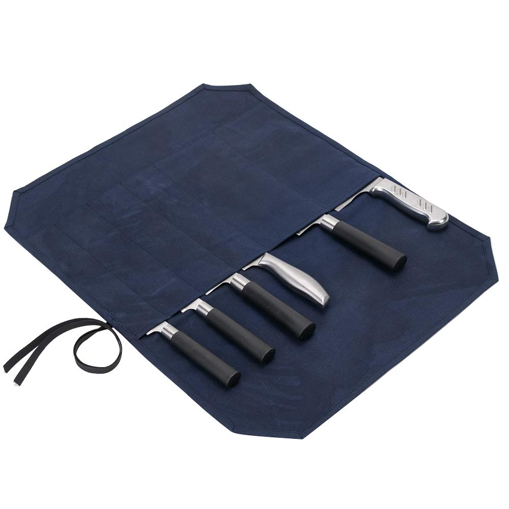 """Large Navy Blue Chef's Knife Roll Case, Waxed Canvas Cutlery Knives Holders Protectors, Home Kitchen Cooking Tools Wallet Holds Shears Tongs Length Up to 16.9"""" (Navy Blue)"""