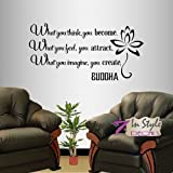 Wall Vinyl Decal Home Decor Art Sticker Buddha Quote What You Think You Become What You Feel You Attract... Yoga Living Room Bedroom Room Removable Stylish Mural Unique Design