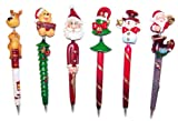 Inkology Christmas Hand Crafted Ballpoint Pens, Assorted Designs, Medium Point Black Ink, 12 Pen Set (568-1)