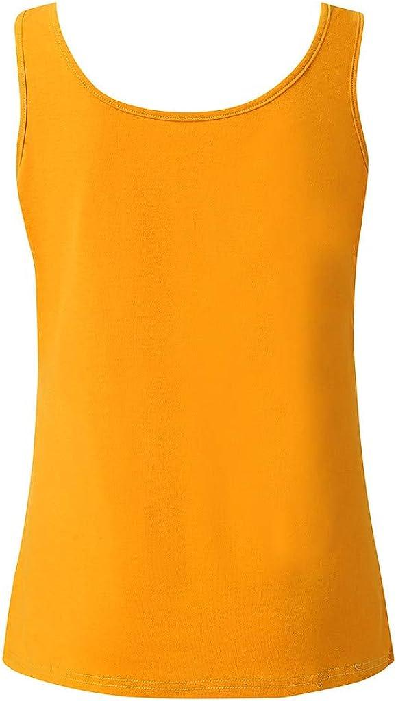 iLUGU Women Lady Sleeveless Round Neck Top Polo Men Solid Square Neck Cami Slim Fit Vest Blouse Shirt